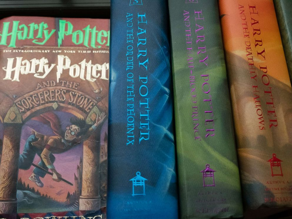 PHOTO: In this June 19, 2017, file photo, a collection of Harry Potter books is shown.