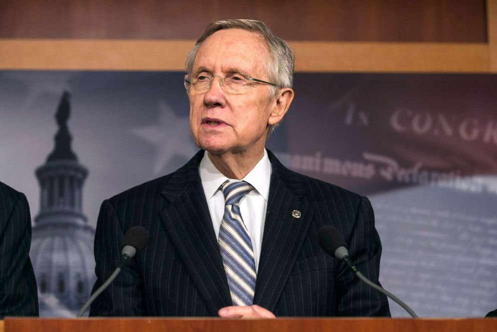 PHOTO: Senate Majority Leader Sen. Harry Reid speaks at a press conference at the U.S. Capitol, Oct. 16, 2013, in Washington, D.C.