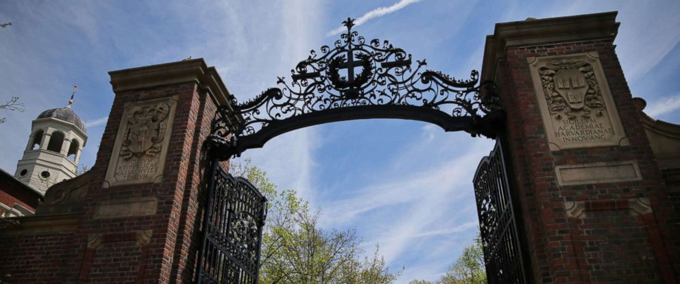PHOTO: The Johnston Gate at the entrance to Harvard Yard in Cambridge, Mass., is pictured May 4, 2017. pictured on May 4, 2017.