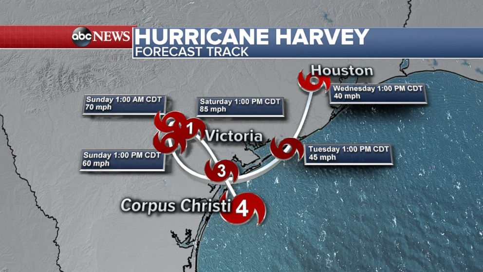 PHOTO: Hurricane Harvey forecast, Aug. 25, 2017.