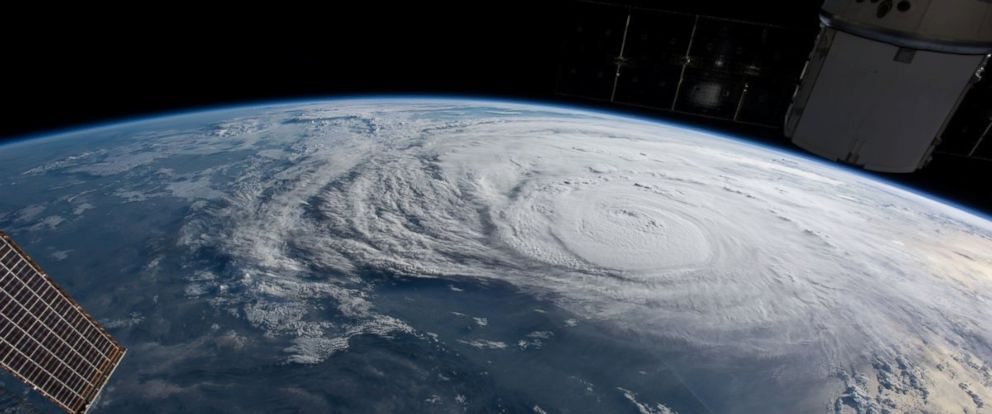 PHOTO: Hurricane Harvey is pictured off the coast of Texas from aboard the International Space Station, Aug. 25, 2017.