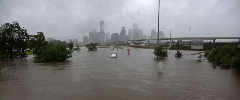 PHOTO: Interstate highway 45 is submerged from the effects of Harvey seen during widespread flooding in Houston, Aug. 27, 2017.