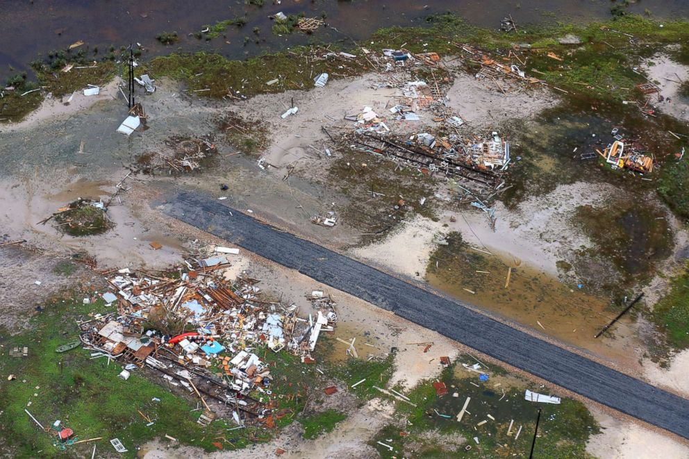 PHOTO: In this file photo, damage in the wake of Hurricane Harvey, Aug. 28, 2017, in Corpus Christi, Texas. Harvey hit the coast as a Category 4 hurricane.