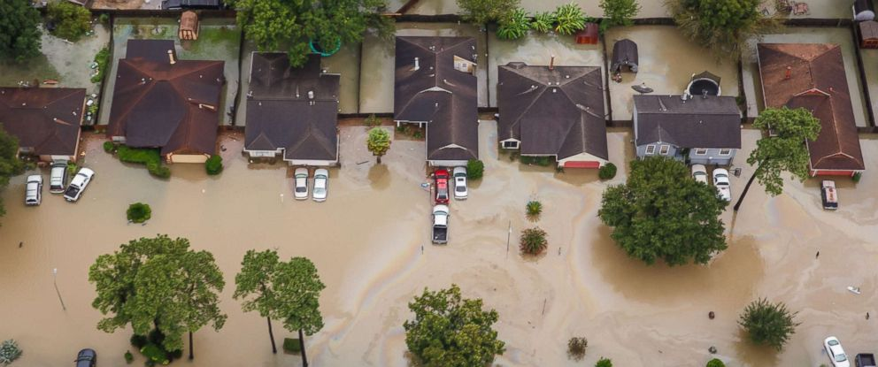 PHOTO: A residential neighborhoods is inundated with floodwater in the wake of Hurricane Harvey in Houston, Aug. 29, 2017.