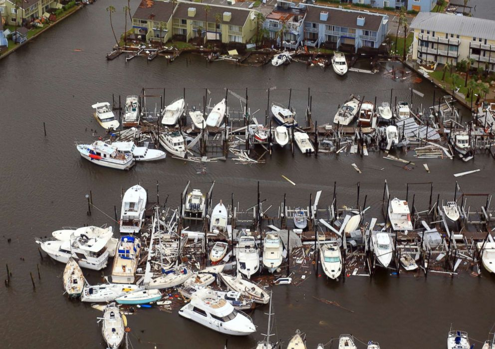 PHOTO: Damaged boats left in the wake of Hurricane Harvey, Aug. 28, 2017, in Corpus Christi, Texas.