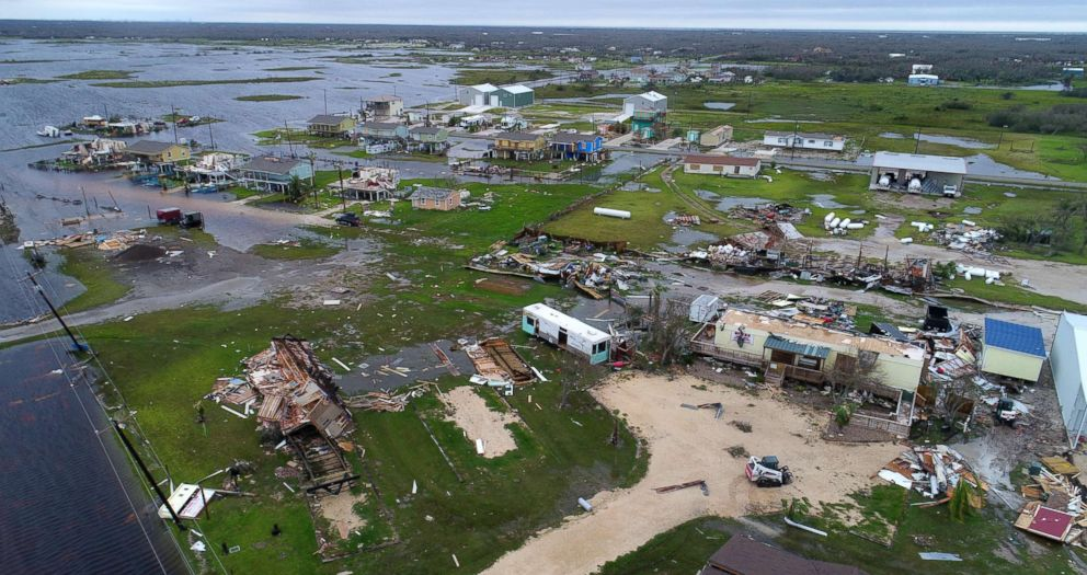 PHOTO: Buildings and mobile homes destroyed by Hurricane Harvey in Rockport, Texas, Aug. 27,. 2017.
