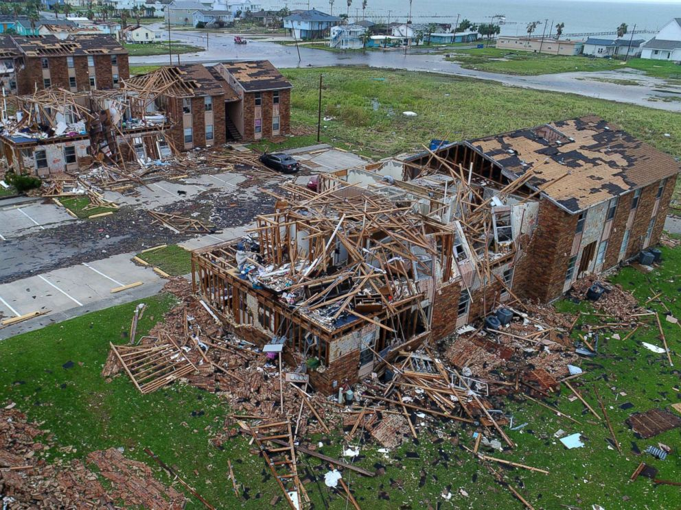 PHOTO: An aerial image shows the remains of the Salt Grass Landing Apartments in Rockport, Texas after Hurricane Harvey, Aug. 27, 2017.