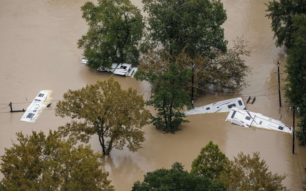 PHOTO: Recreational vehicles are submerged in floodwaters following Hurricane Harvey, Aug. 29, 2017, in Houston, Texas.