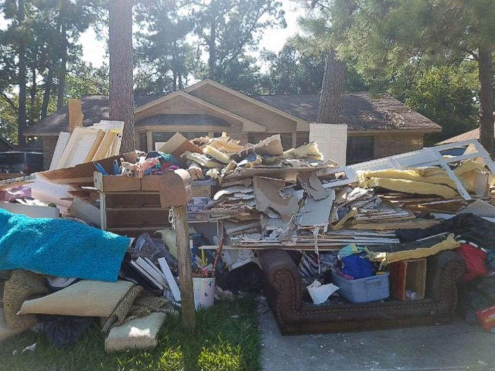 PHOTO: Kristie Fudges Baytown, Texas, home was ruined by Harvey floodwaters and her daughters baby album was recovered blocks away.
