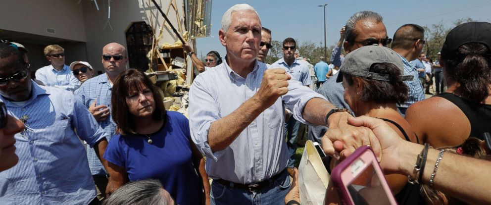 PHOTO: Vice President Mike Pence, with his wife Karen, gives encouragement to residents effected by Hurricane Harvey during a visit, Aug. 31, 2017, in Rockport, Texas.