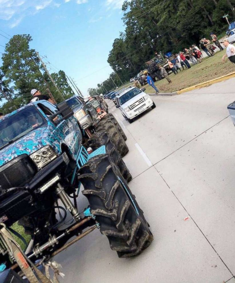 A fleet of monster trucks driven by volunteers are traveling to Texas cities hardest hit by floodwaters to conduct rescues.