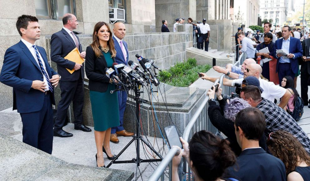 PHOTO: Attorney Donna Rotunno makes comments with other members of Harvey Weinsteins new legal team at New York State Supreme Court in New York, July 11, 2019.