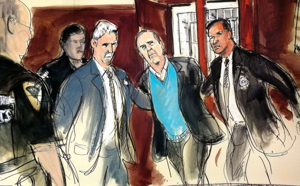 PHOTO: In this courtroom sketch, Harvey Weinstein, center, is escorted into New York County Criminal Court in New York on Friday, May 25, 2018.
