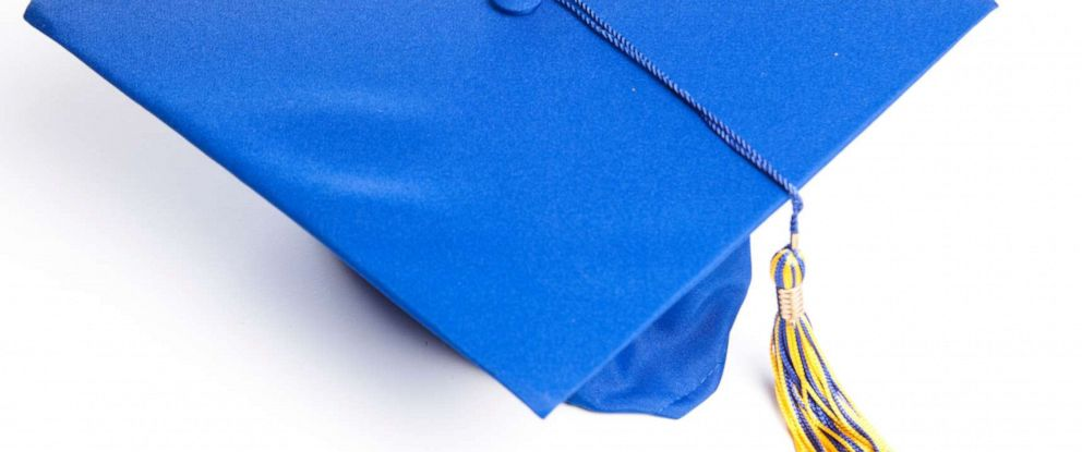 PHOTO: Blue graduation hat in a stock photo.