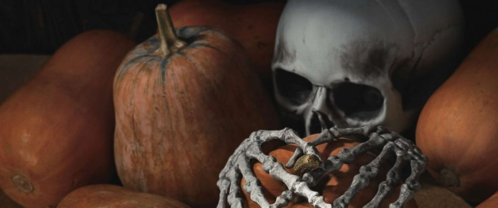 PHOTO: An undated stock photo of a Halloween skull and pumpkins.