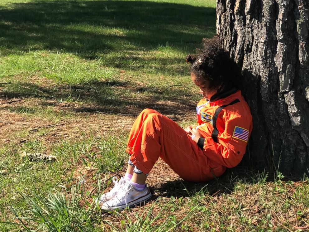 Havana Chapman-Edwards was the only student who walked out of her first-grade class in Alexandria, Va., for the National School Walkout on Friday, April 20, 2018.