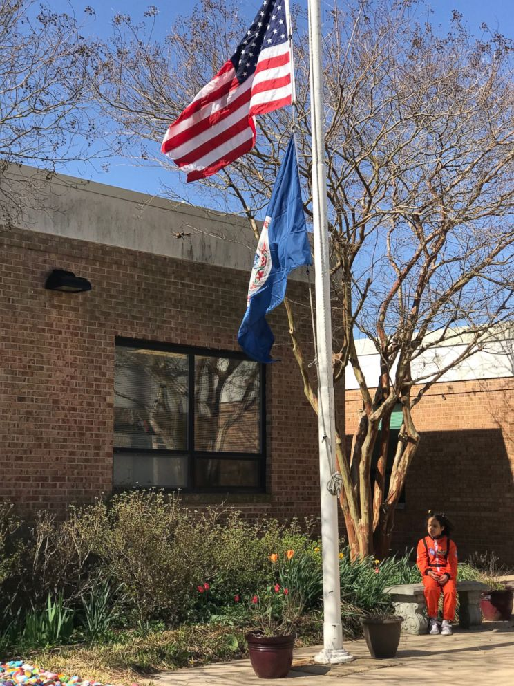 First-grader Havana Chapman-Edwards was the only kid to walk out of her school in Alexandria, Va., on Friday, April 20, 2018 for the National School Walkout.