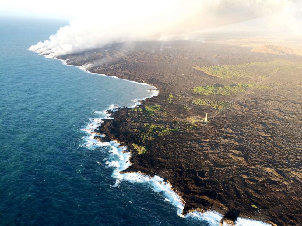 PHOTO: In this July 11, 2018, photo lava from Kilauea flows into the Pacific Ocean.