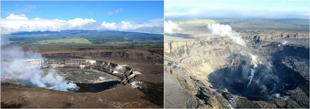 PHOTO: USGS shows the Kilauea Summit crater before and after the eruption. Left: April 2018, Right: July 2018