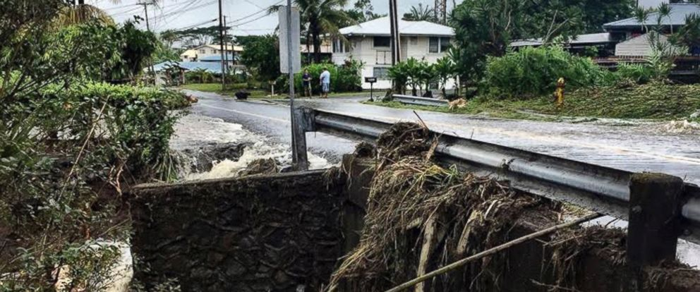 This photo provided by Jessica Henricks shows damage from Hurricane Lane Friday, Aug. 24, 2018, near Hilo, Hawaii.