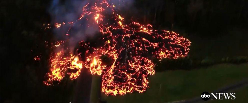 PHOTO: Drone captures destruction of Kilauea lava flow on Hawaiis Big Island, May 6, 2018.