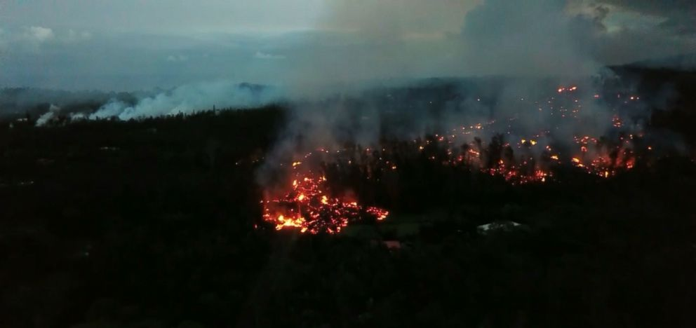 PHOTO: Drone footage shows destruction on Hawaiis Big Island from Kilauea lava flow, May 6, 2018.