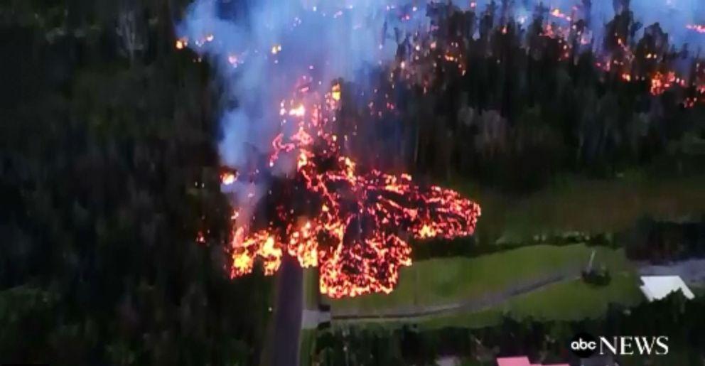 PHOTO: Drone captures destruction of Kilauea lava flow on Hawaii's Big Island, May 6, 2018.