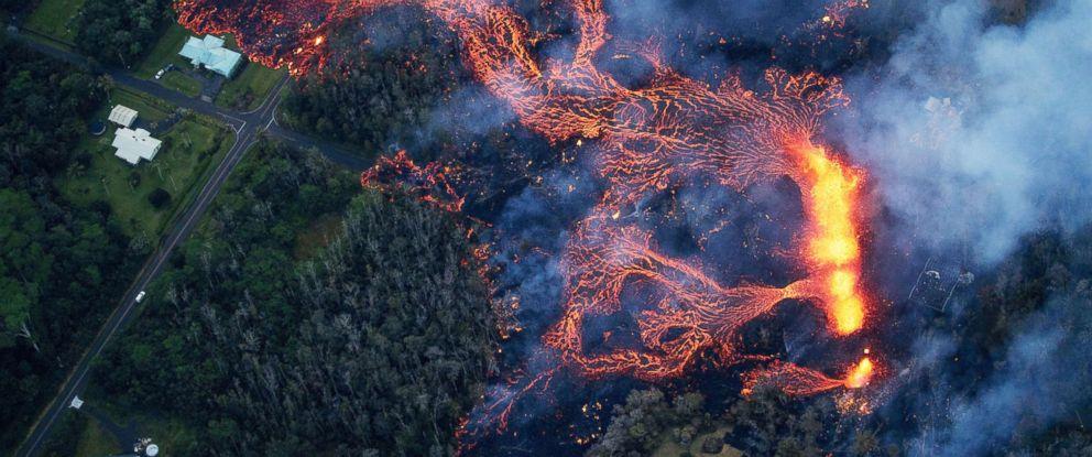 PHOTO: Volcanic activity continues on Kilaueas east rift zone near Pahoa, Hawaii, May 6, 2018.