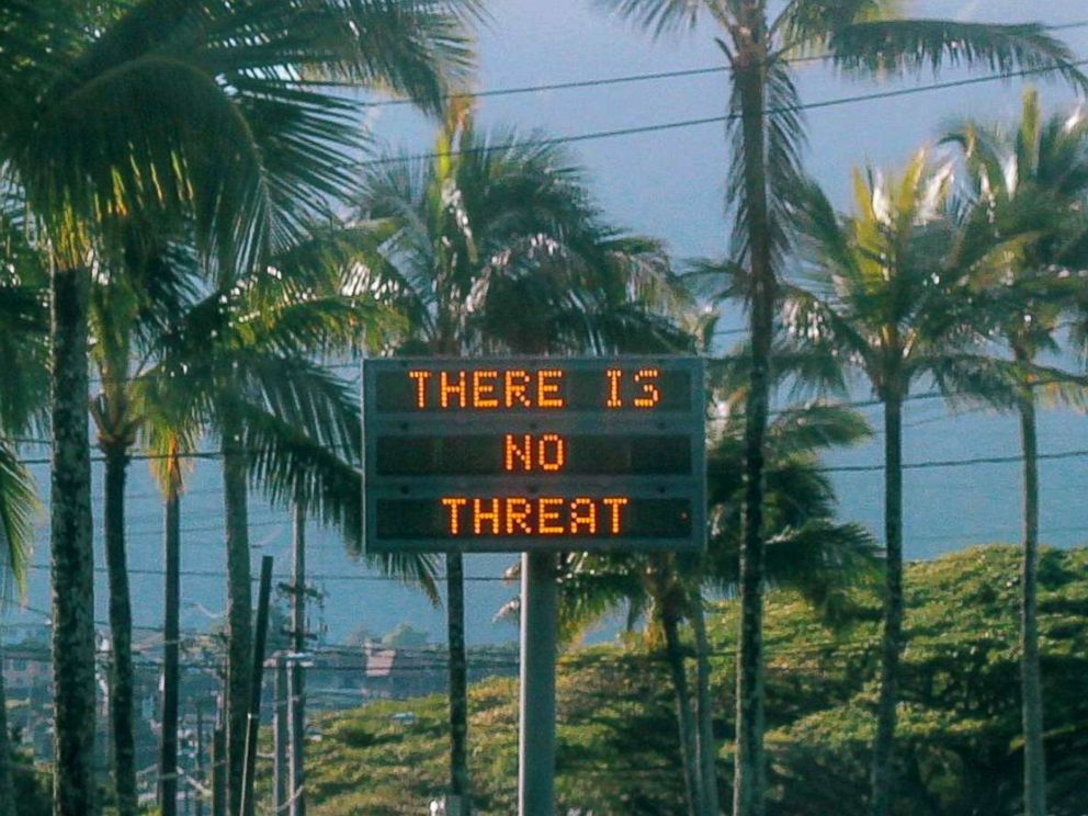 PHOTO: An electronic sign reads There is no threat in Oahu, Hawaii, after a false emergency alert that said a ballistic missile was headed for Hawaii, in this Jan. 13, 2018 photo obtained from social media.