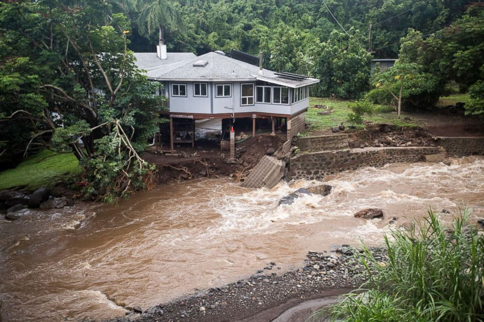 PHOTO: A home on Kahekili Highway near the Waihee River Bridge, was evacuated after a flash flood breached the property, Sept. 12, 2018, in Maui, Hawaii.