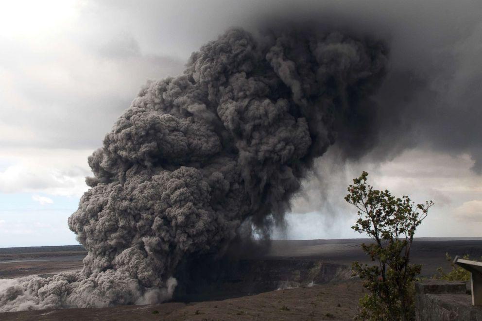 PHOTO: Ash plume rises following a massive volcano eruption on Kilauea volcano in Hawaii, on May 17, 2018.