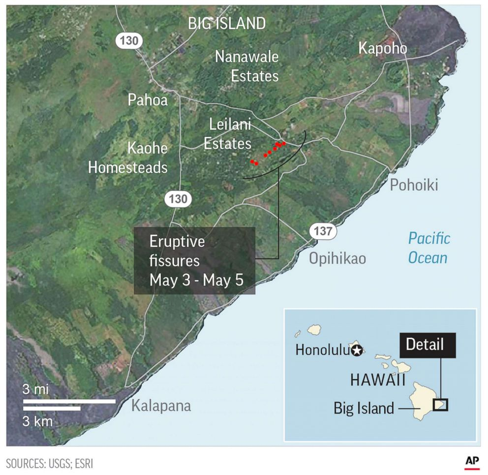 PHOTO: This map shows eruptive fissures in Hawaii.