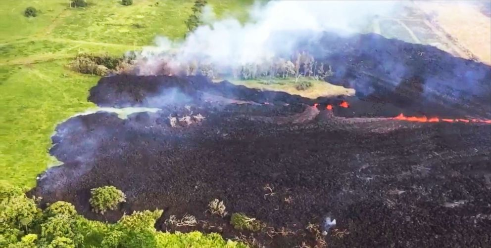 PHOTO: Gases rise from a fissure near Pahoa, Hawaii, in this May 13, 2018 frame from video released by the U.S. Geological Survey.