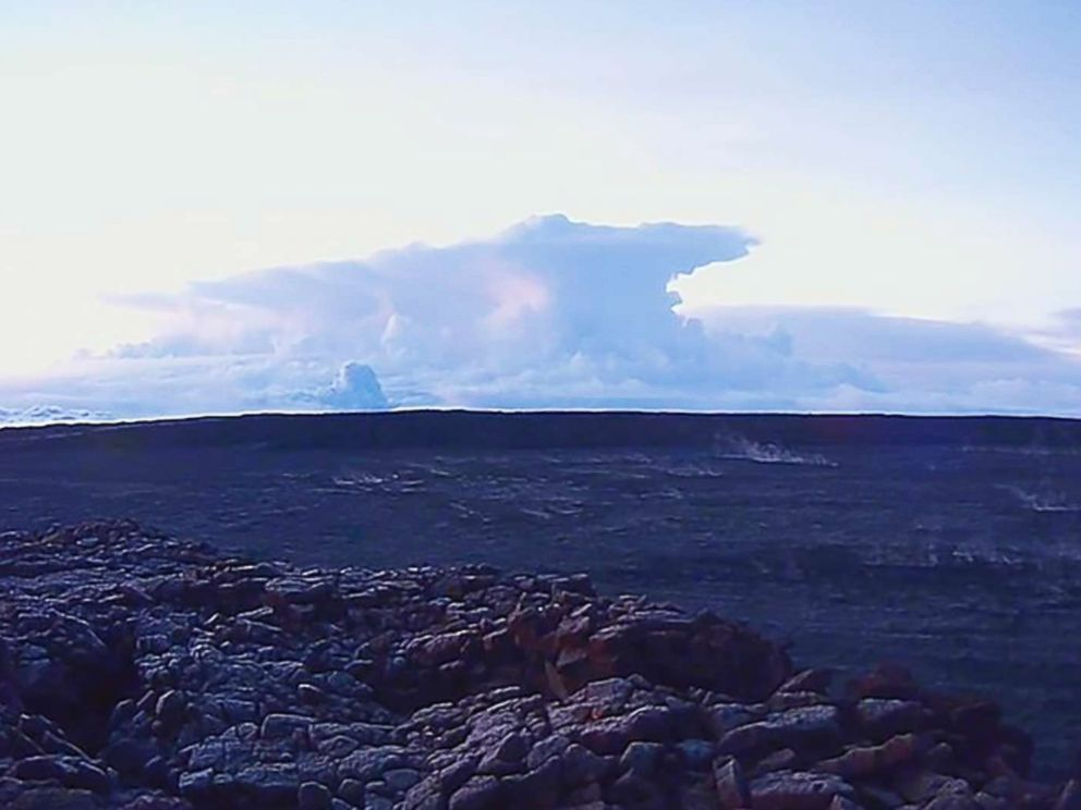 PHOTO: This photo provided by U.S. Geological Survey shows the ash plume at the Kilauea Volcano, taken from a Mauna Loa webcam, on May 17, 2018, in Hawaii.