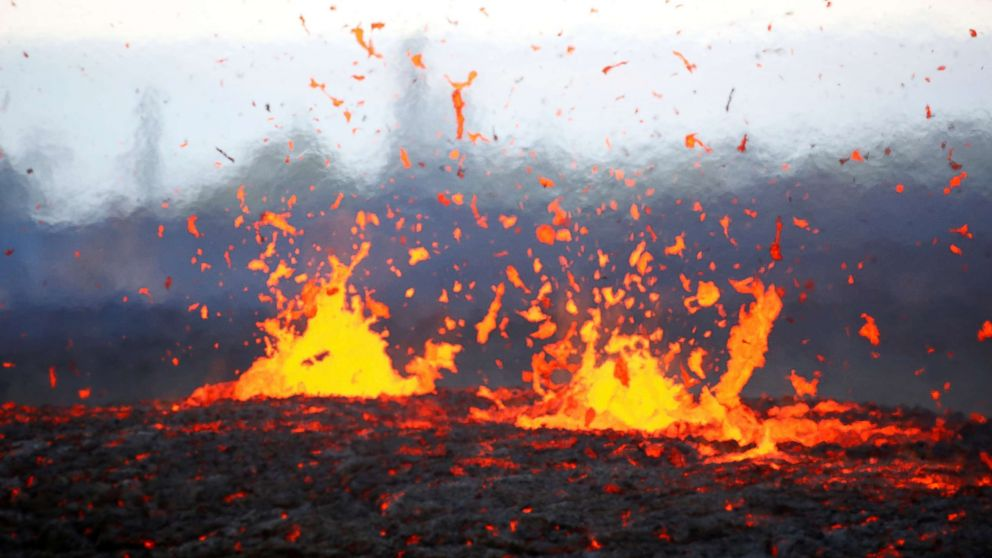 Lava erupts from a fissure on the outskirts of Pahoa during ongoing eruptions of the Kilauea Volcano in Hawaii, May 14, 2018.