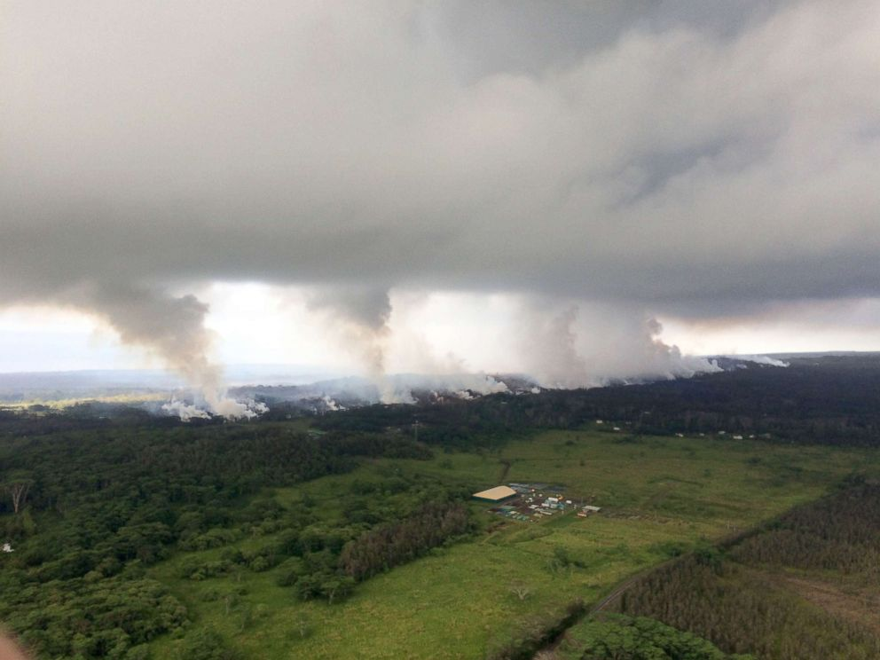 PHOTO: This image released by the U.S. Geological Survey on May 17, 2018 shows a view uprift from the Hawaiian Volcano Observatory overflight at 8:25 a.m.HST from the Kilauea Volcano, May 16, 2018.