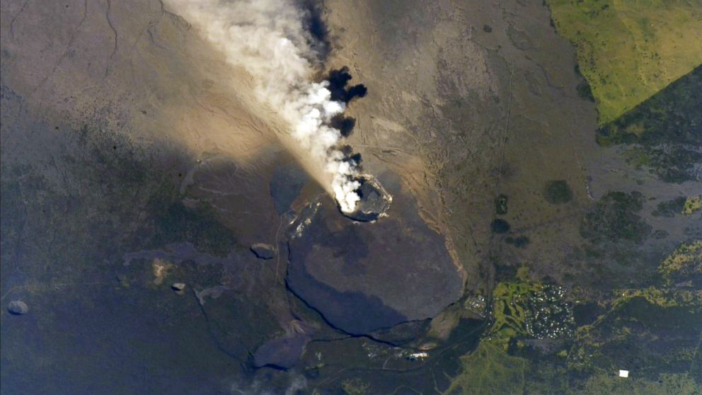 View of the Hawaii's Kilauea Volcano from the International Space Station in this undated image obtained from social media and tweeted on May 13, 2018.