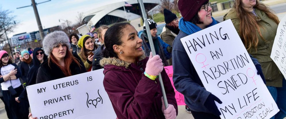 PHOTO: Women seen with placards during a protest against the controversial Heartbeat Bill or HB258, which bans abortion once a fetal heartbeat is detected, Dec. 12, 2018, in Columbus, Ohio.