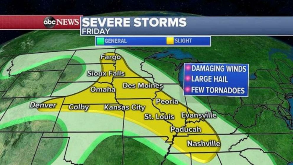 PHOTO: Severe weather is possible throughout the Heartland on Friday.