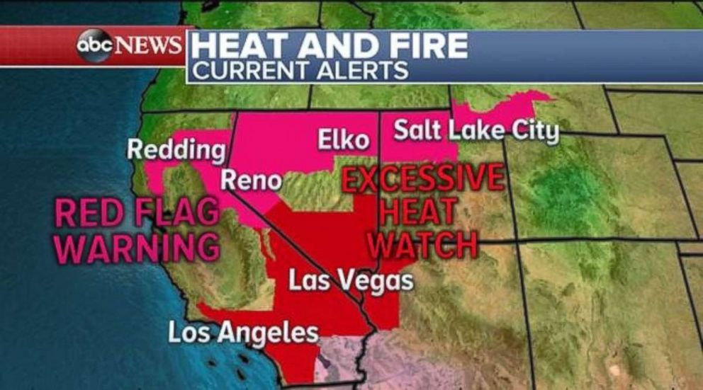 Red flag warnings and excessive heat watches are in place through much of the West.