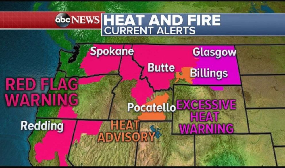 Red flag warnings are in effect across Northern California, as well as parts of Washington, Idaho ad Montana.