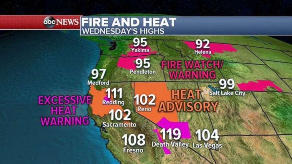 Alerts are in place across much of the West on Wednesday.