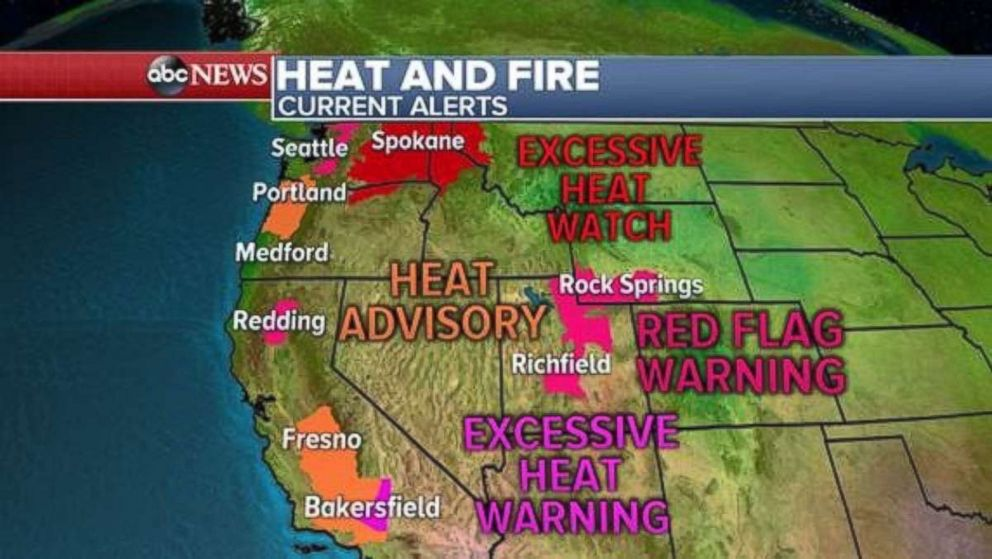 Heat and fire are still a concern across much of the West on Sunday.