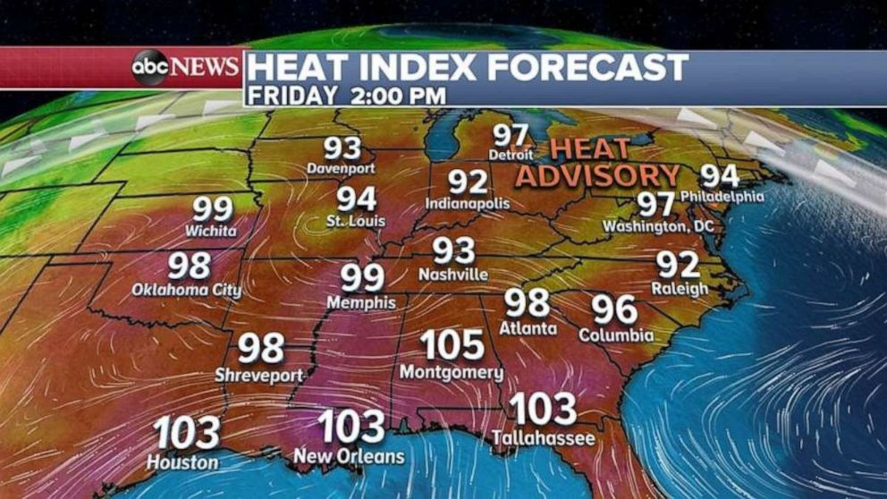 PHOTO: The heat index remains high in the eastern U.S. on Friday.