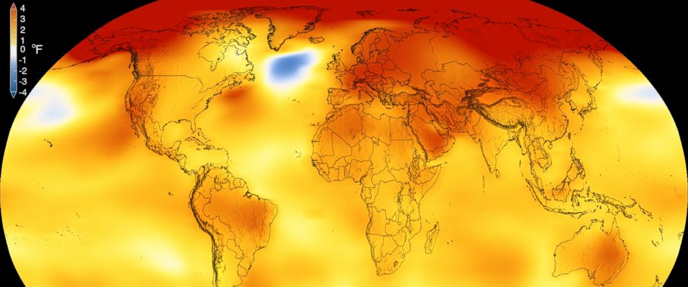 PHOTO: This color-coded map shows global surface temperature anomalies. Higher than normal temperatures are shown in red and lower than normal temperatures are shown in blue.