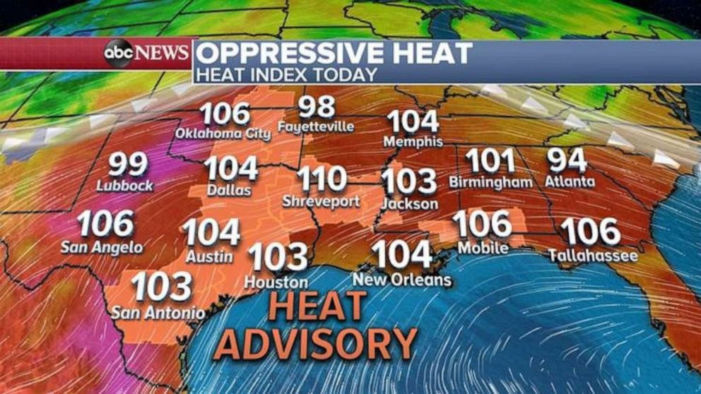 PHOTO: The heat index will be over 100 degrees across the southern U.S. on Friday.