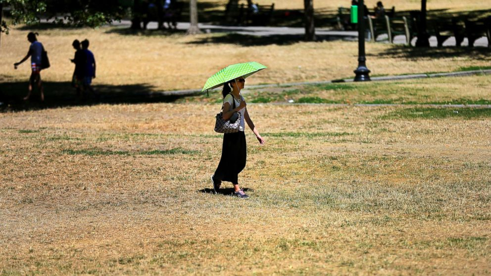 A woman holds an umbrella for shade as she walks across the dry grass on Boston Common in Boston during a heat wave, July 26, 2016.