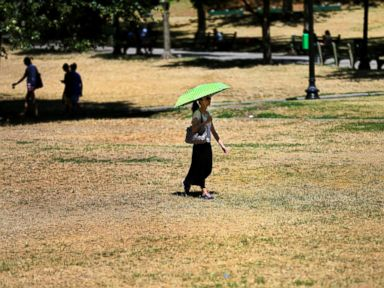 woman holds an umbrella for shade