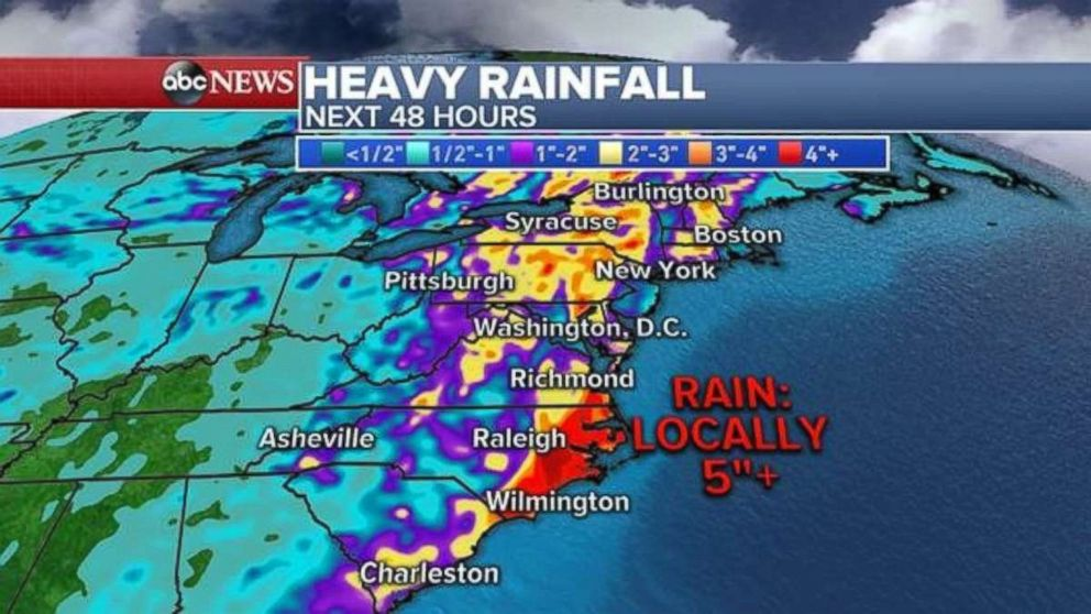PHOTO: Heavy rainfall is expected over the next 48 hours on the East Coast.
