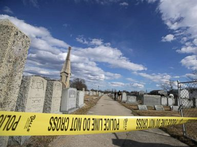 Dozens of headstones at Jewish cemetery defaced with swastikas, anti-Semitic messages